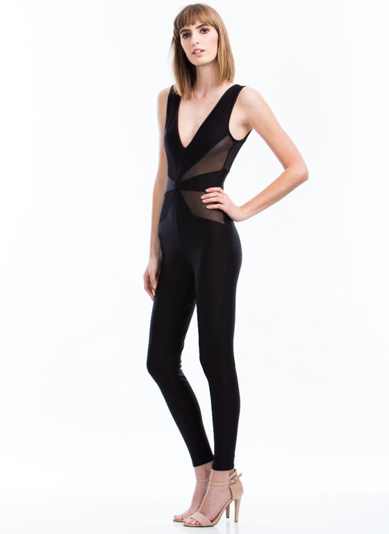 Triangulated Mesh Inset Jumpsuit BLACK
