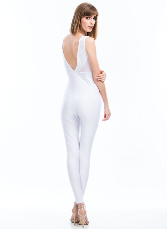Triangulated Mesh Inset Jumpsuit WHITE