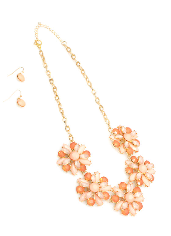 Double Layer Floral Necklace Set PEACH