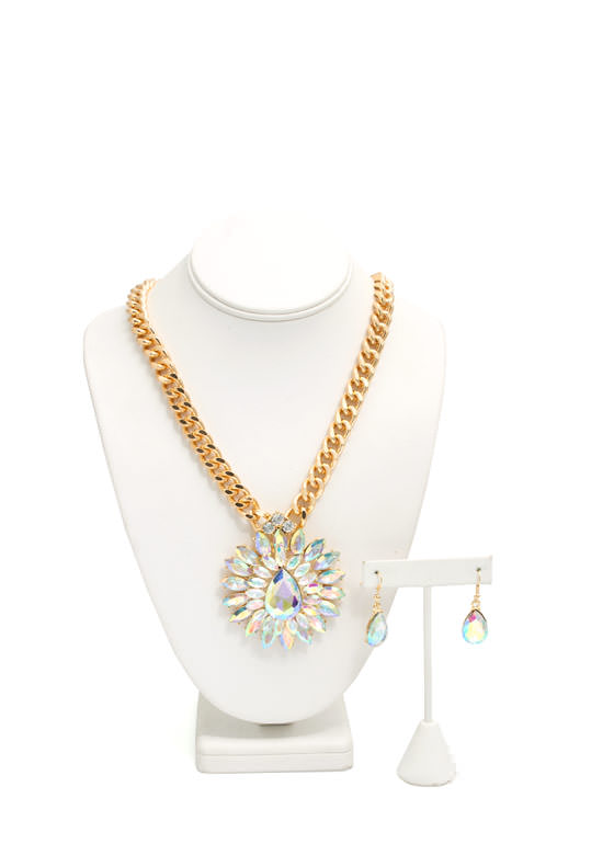 Glamorous Double Flower Necklace Set GOLDIVORY