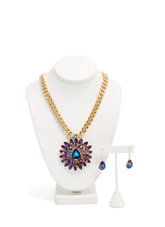 Glamorous Double Flower Necklace Set GOLDNAVY