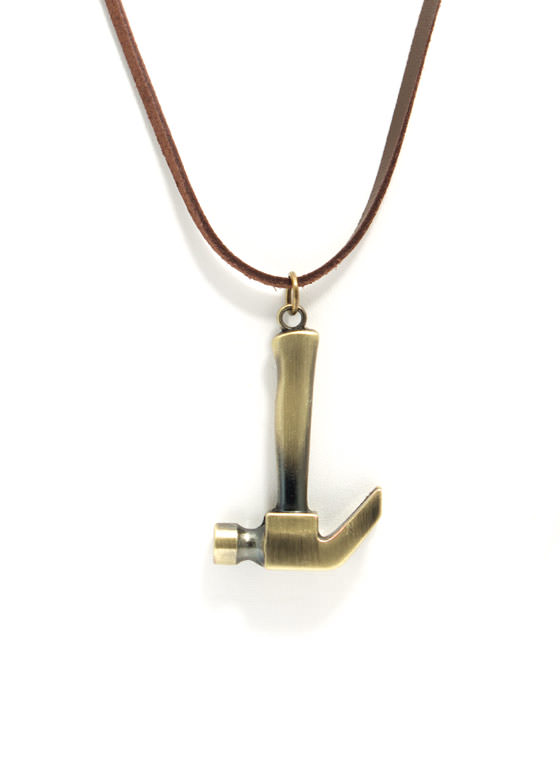 Faux Suede Hammer Necklace DKGOLDBRWN