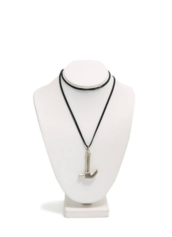 Faux Suede Hammer Necklace SILVERBLK