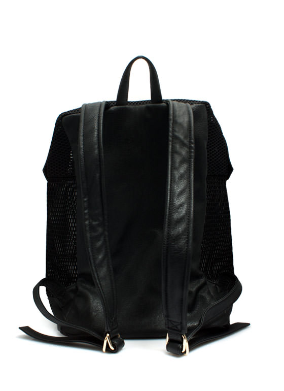 Sports Mesh Faux Leather Backpack BLACK