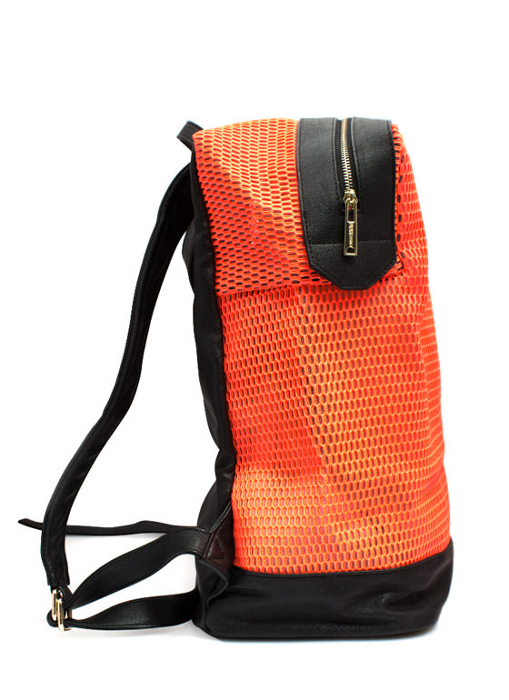 Sports Mesh Faux Leather Backpack NEONORANGE