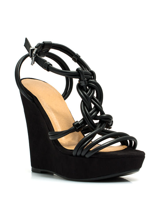 Best In Braided Platform Wedges BLACK