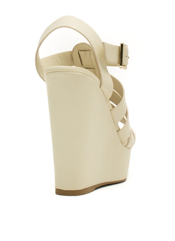 Happy In Strappy Platform Wedges OFFWHITE