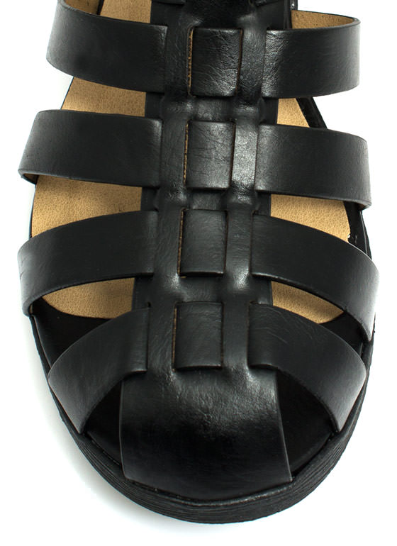 Caged Double Buckle Sandals BLACK