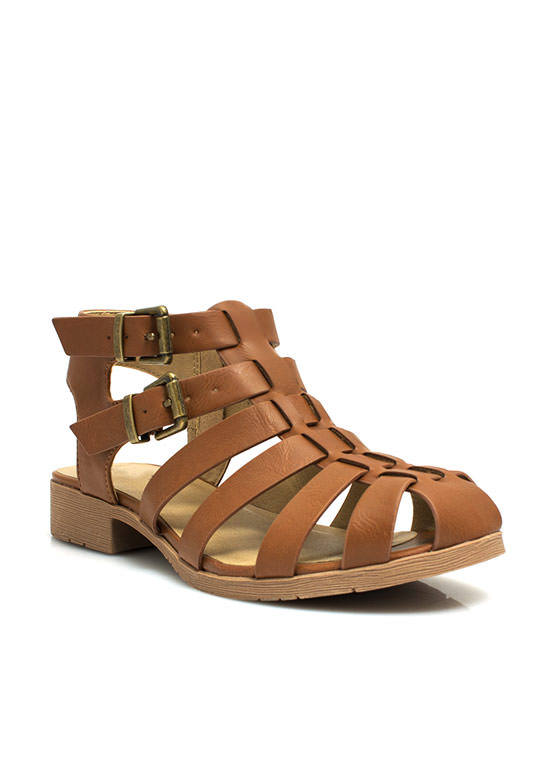 Caged Double Buckle Sandals TAN