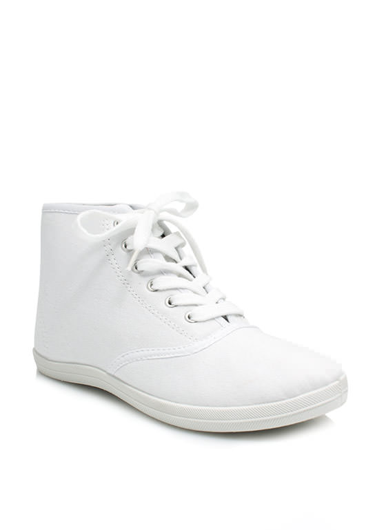Basic Lace-Up High-Top Sneakers WHITE