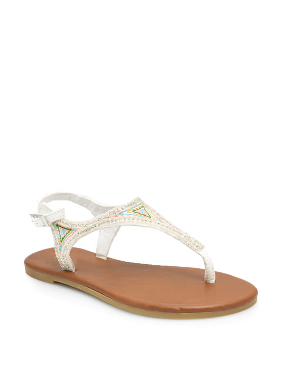 Beaded Nomad T-Strap Sandals WHITE