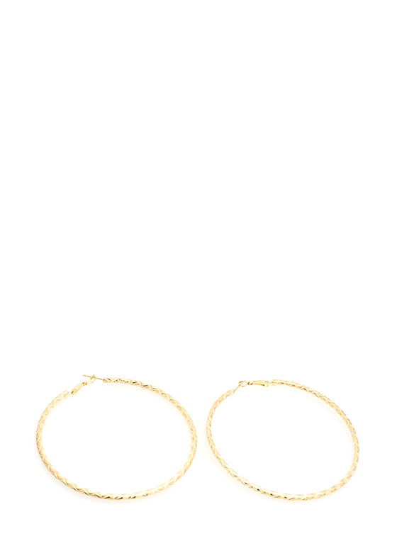 Textured Zigzag Hoop Earrings GOLD