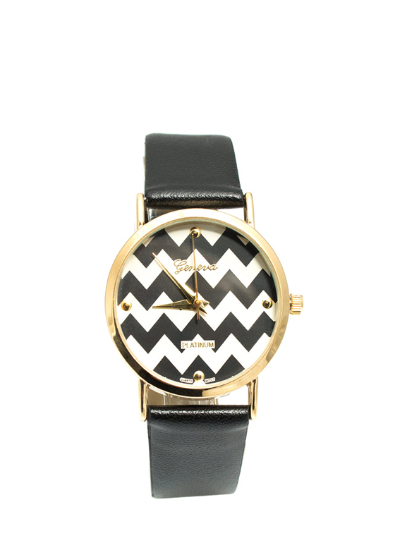 Chevron Stripes Watch BLACK