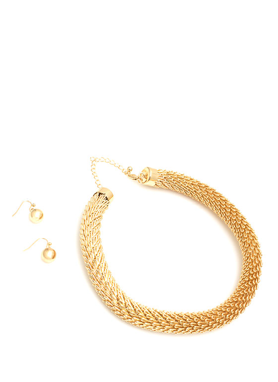 Rolled Scales Chain Necklace Set GOLD