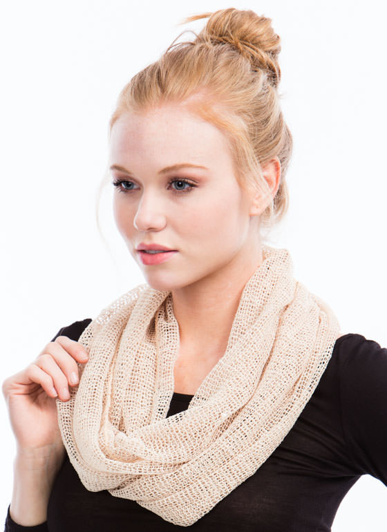 Mesh Net Sequined Scarf TAUPE