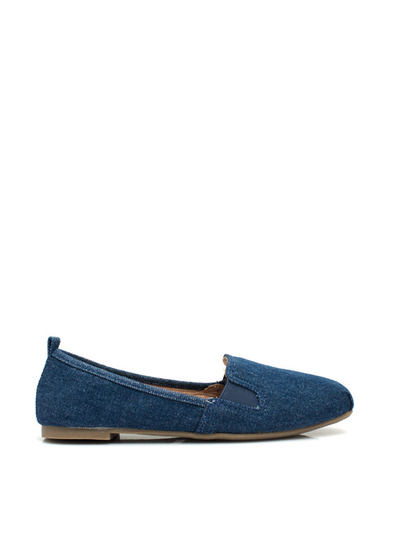 Denim Daydream Smoking Flats BLUE