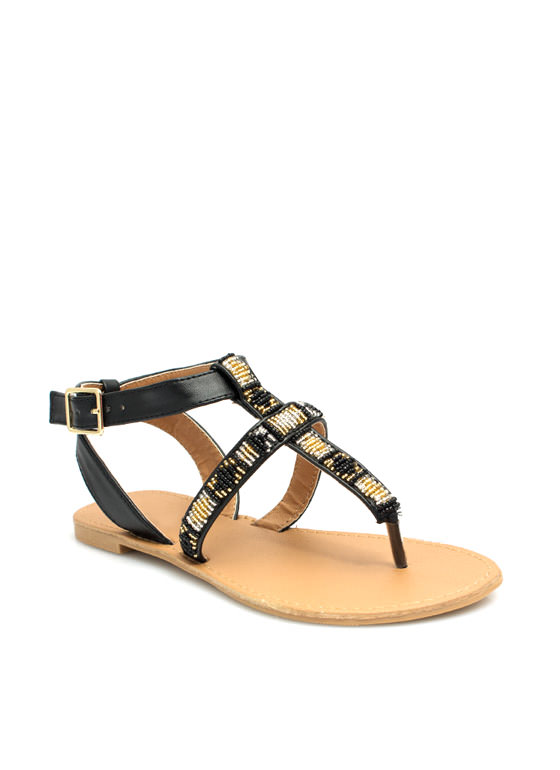 Bead Me To It Cross Strap Sandals BLACK