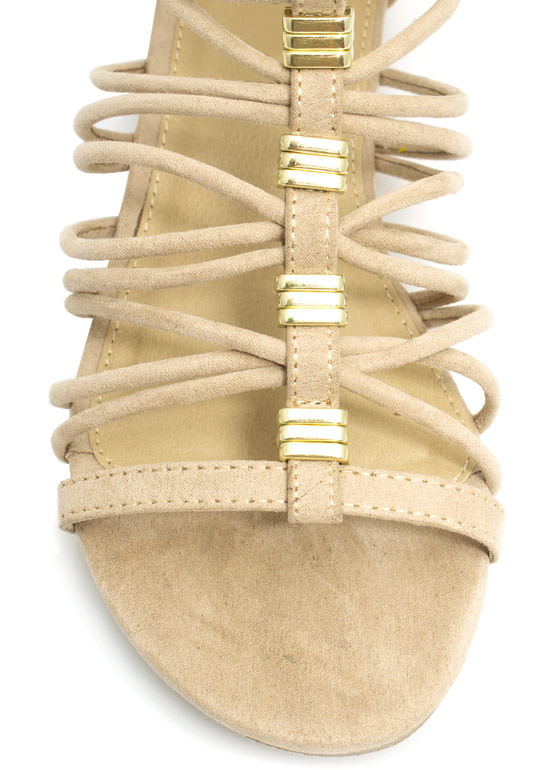 Caged Cord Low Wedge Sandals OATMEAL