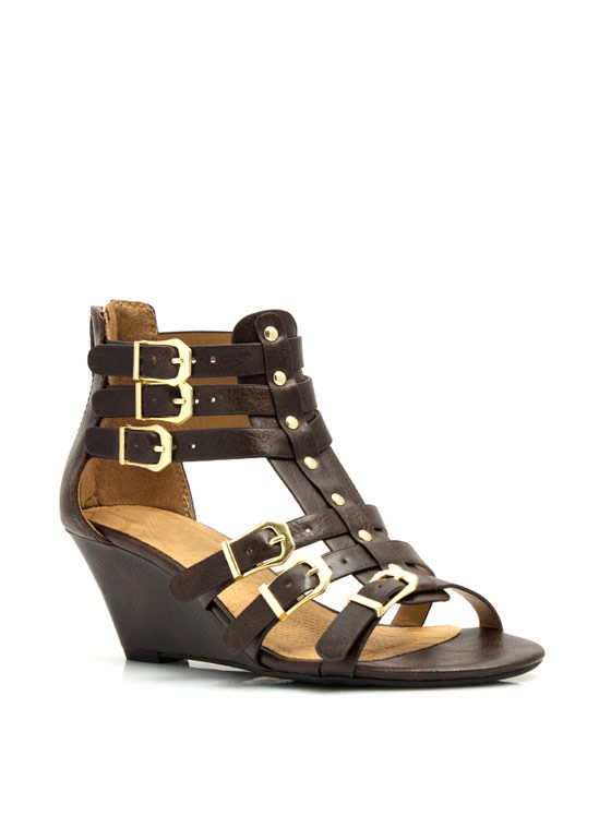 Quick Six Buckled Wedges BROWN