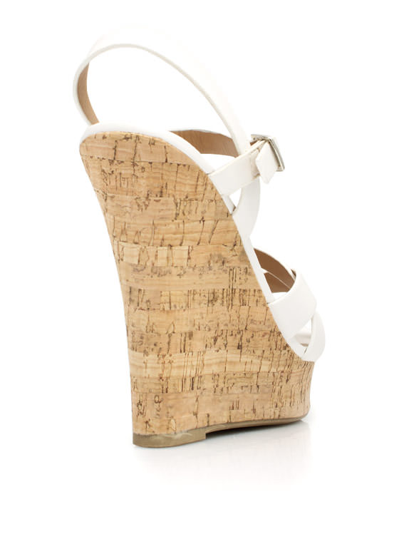 Strap-tastic Faux Cork Wedges WHITE