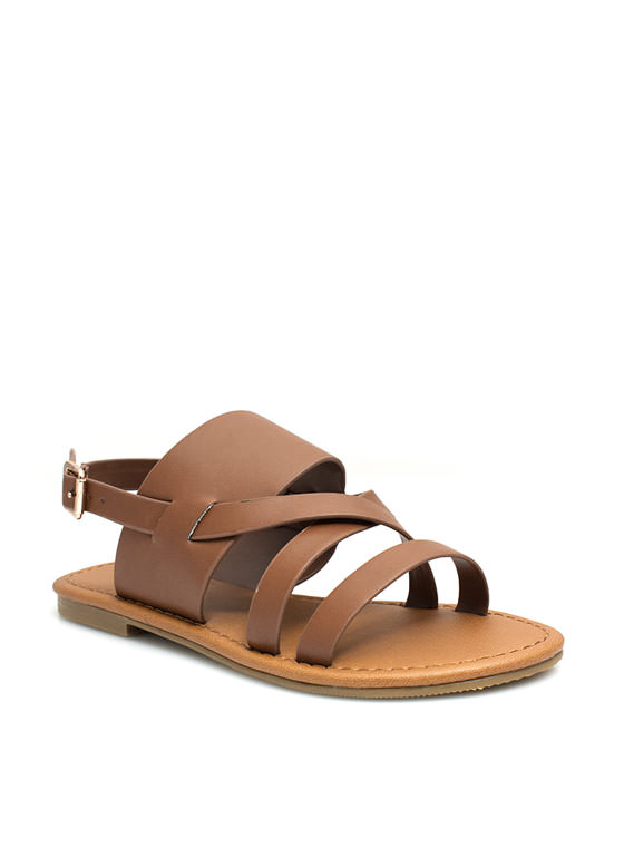 Strapping Out Slingback Sandals DKTAN