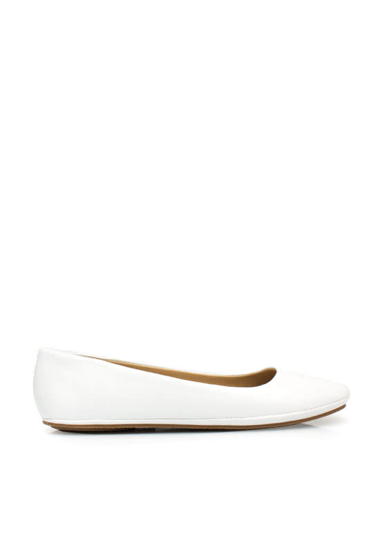 Well-Rounded Faux Leather Ballet Flats WHITE