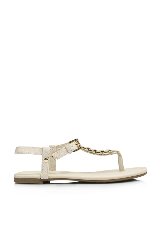 Snake On It Chained T-Strap Sandals BEIGE
