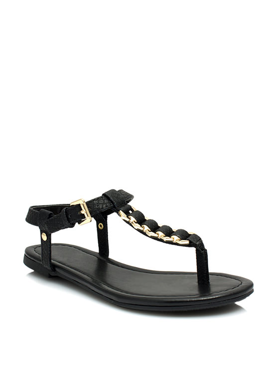 Snake On It Chained T-Strap Sandals BLACK