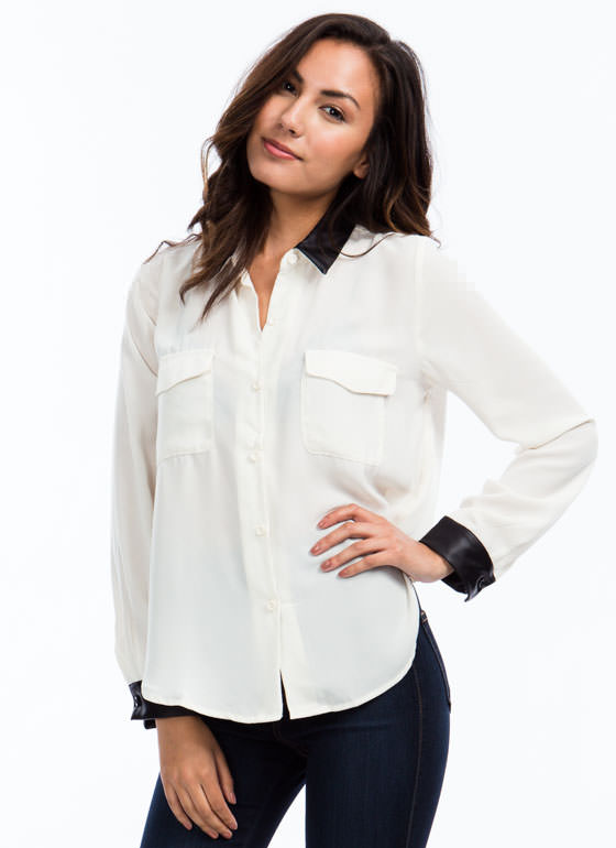 Coated Trim Georgette Blouse CREAM