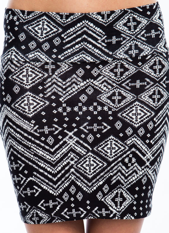 Diamond Party Printed Mini Skirt BLACK