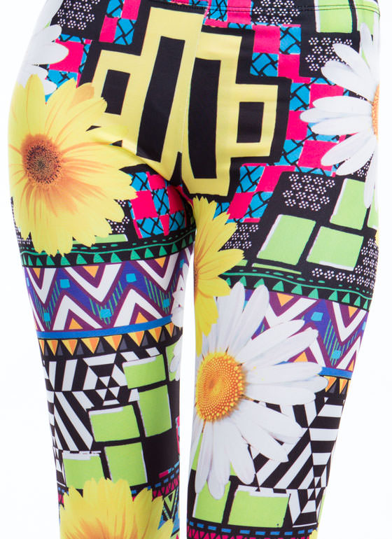 Miss Daisy Mixed Print Leggings YELLOW