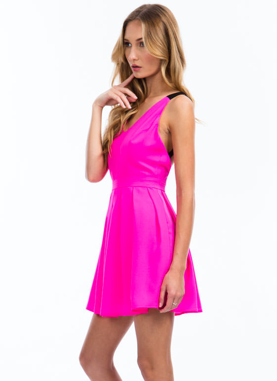 Pleat The Fifth Strappy Skater Dress NEONPINK