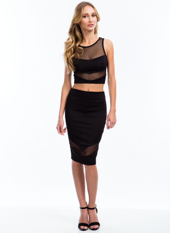 Sheer Up Mesh Inset Cropped Top BLACK