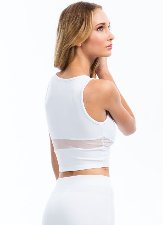 Sheer Up Mesh Inset Cropped Top WHITE
