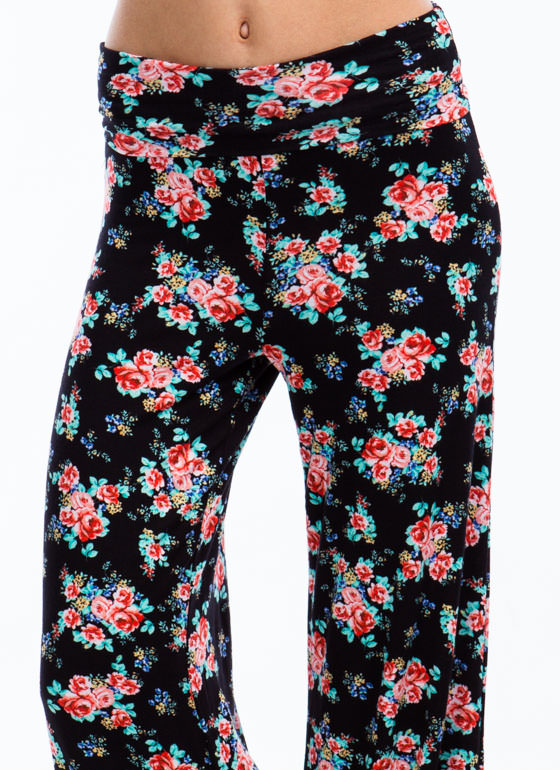 What The Floral Wide Leg Pants BLACK
