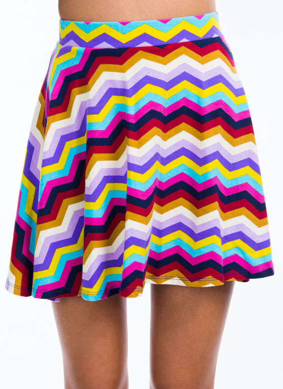 Chevron Striped Skater Skirt TEALPURPLE