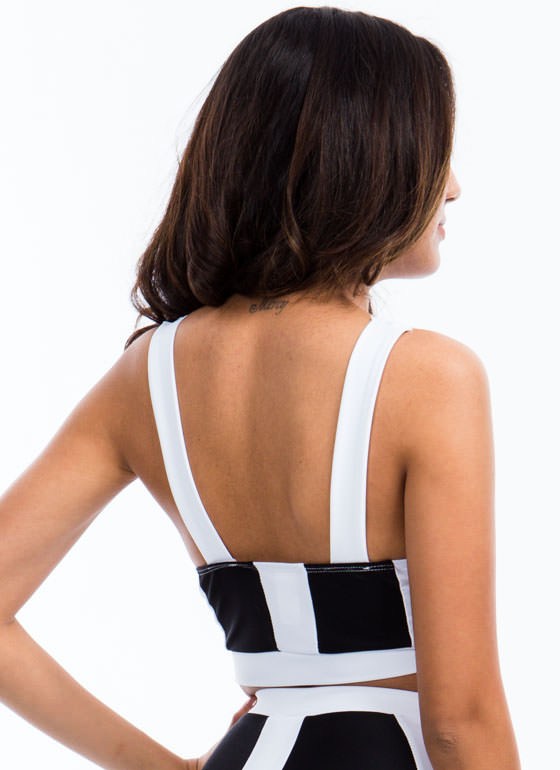 Road Colorblock Cropped Tank BLACKWHITE
