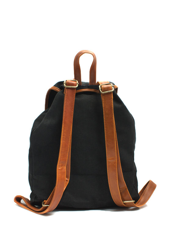 Canvas Drawstring Backpack BLACK