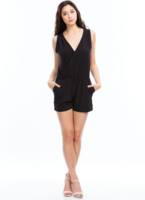 Gathered Surplice Romper BLACK