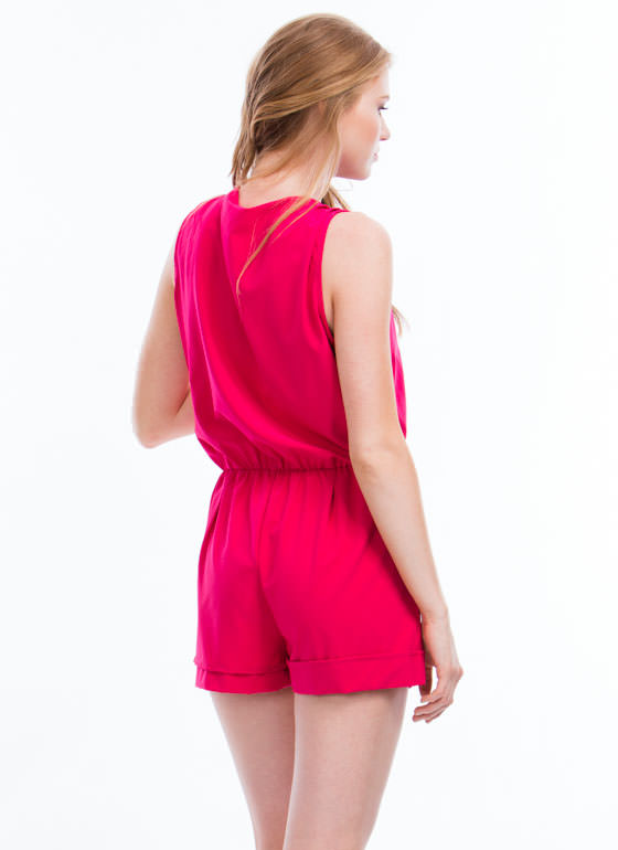 Gathered Surplice Romper FUCHSIA