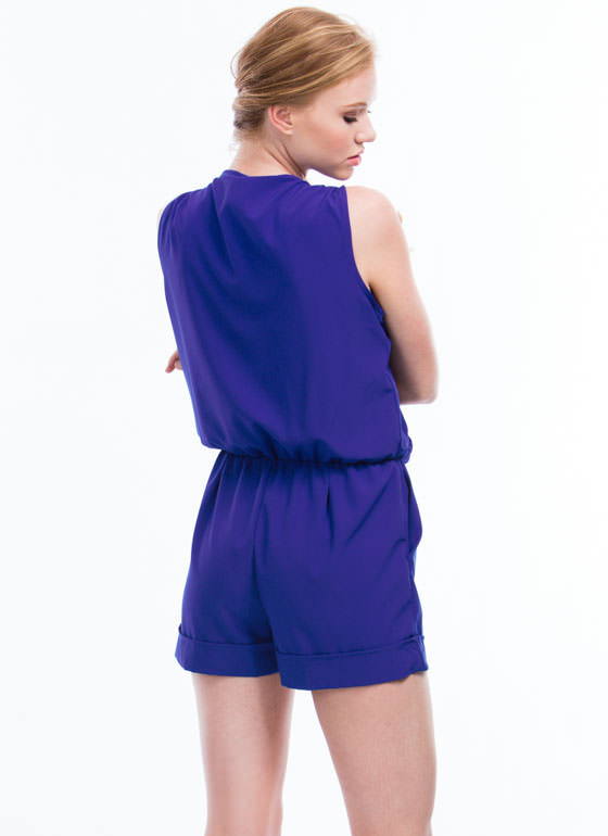 Gathered Surplice Romper ROYAL
