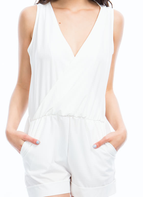Gathered Surplice Romper WHITE