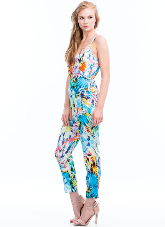Palm Reading Tropical Jumpsuit BLUE