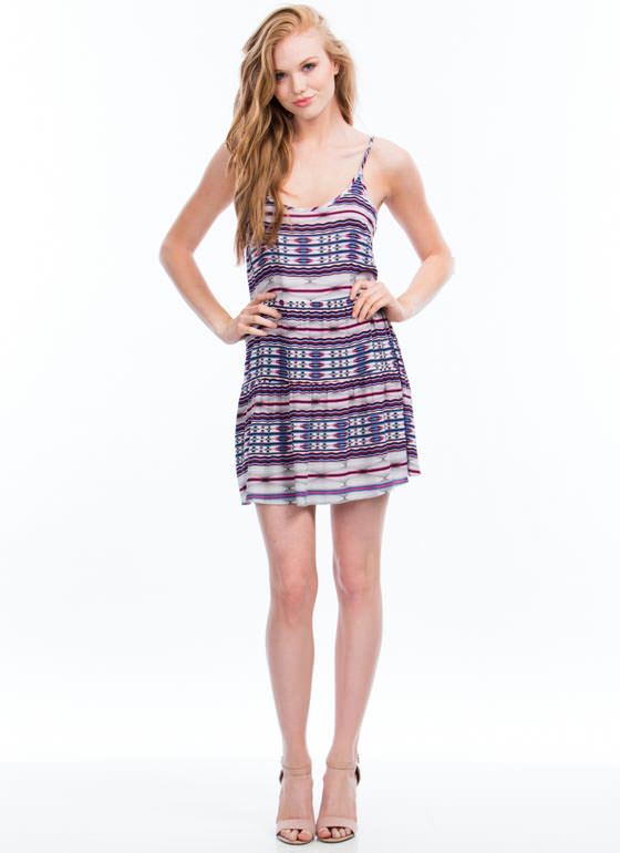 Aztec Print Cami Shift Dress PINKBLUE