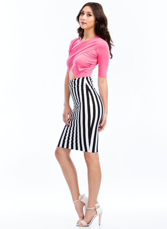 Wrapped Striped Midi Dress PINK