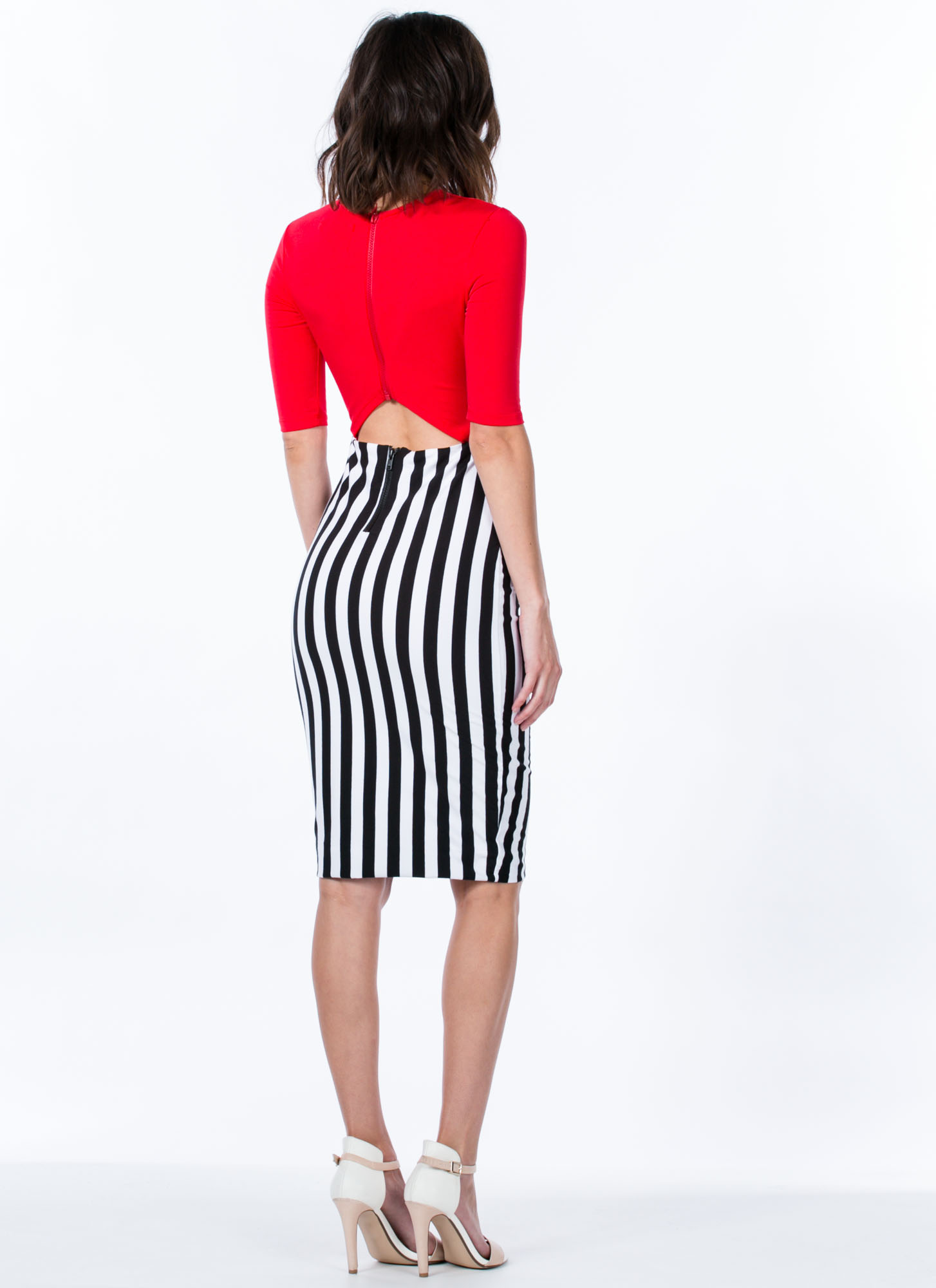 Wrapped Striped Midi Dress RED