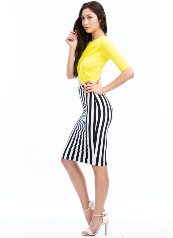 Wrapped Striped Midi Dress YELLOW