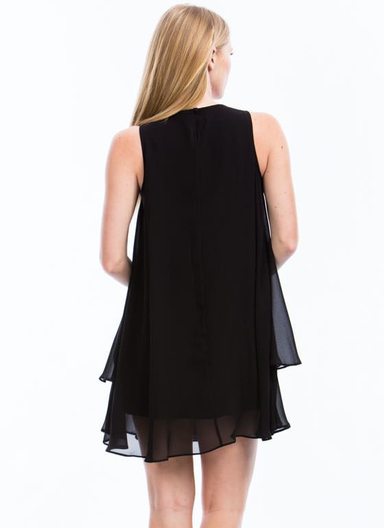 Draped N Tiered Dress BLACK