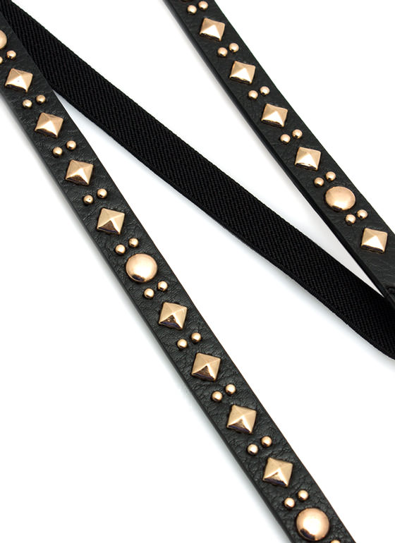 Studded Skinny Faux Leather Belt BLACKGOLD