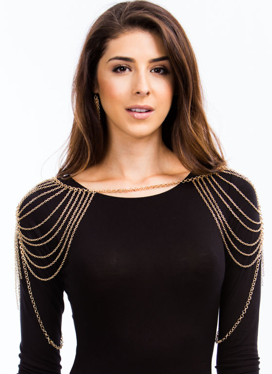 Over The Shoulders Body Chain Set GOLD